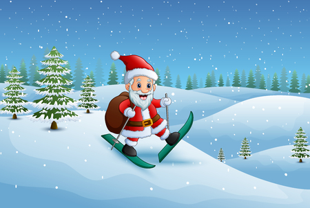 Santa claus skiing in the snow hill with sack of gifts