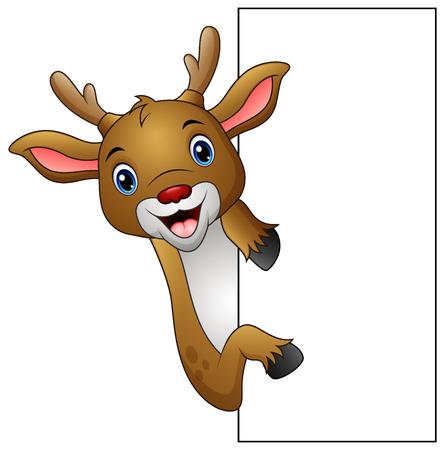 Vector illustration of cartoon deer holding blank sign.