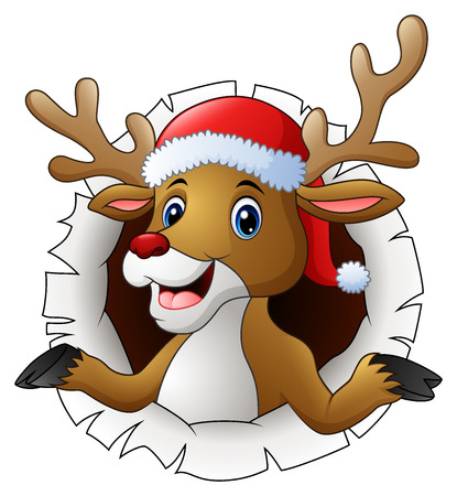 Vector illustration of Reindeer in Santa hat tearing through the background