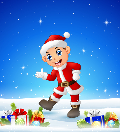Vector illustration of Happy kid wearing santa costume in the Winter background with gift boxes and balls