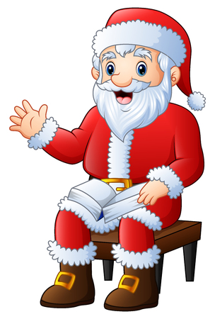 Vector illustration of cartoon santa claus sitting in the chair on a white background