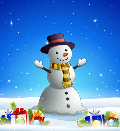 Vector illustration of cartoon snowman in the winter background with gift boxes and balls Illustration