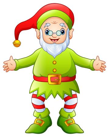 Illustration of a happy cartoon christmas old elf