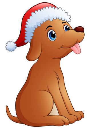 Vector illustration of Cute dog cartoon wearing santa cap
