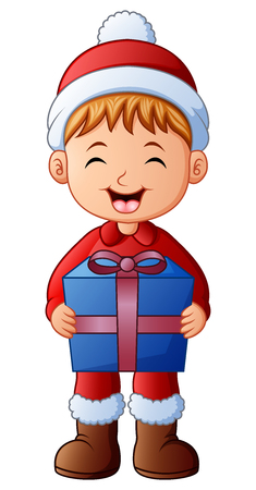 Vector illustration of Happy kid wearing santa costume bringing gift box