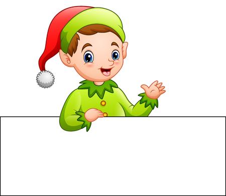 Cartoon christmas elf waving at a blank sign