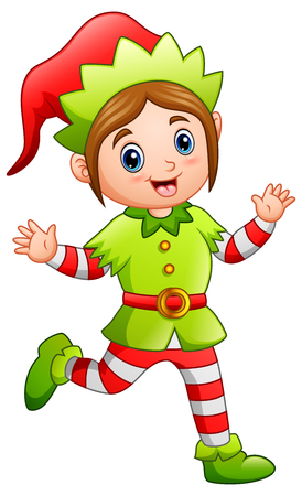 Cartoon happy Christmas elf