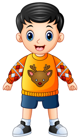 Happy boy cartoon wearing christmas sweater