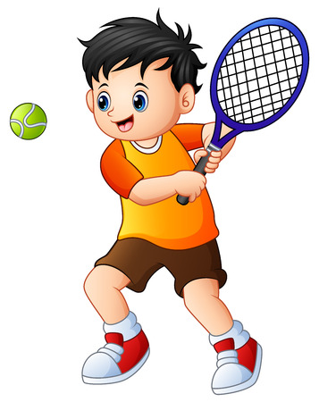 Vector illustration of Cute little boy playing tennis on a white background
