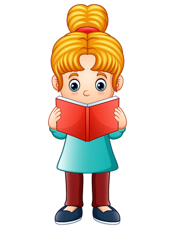 Vector illustration of Little girl reading a book Illustration