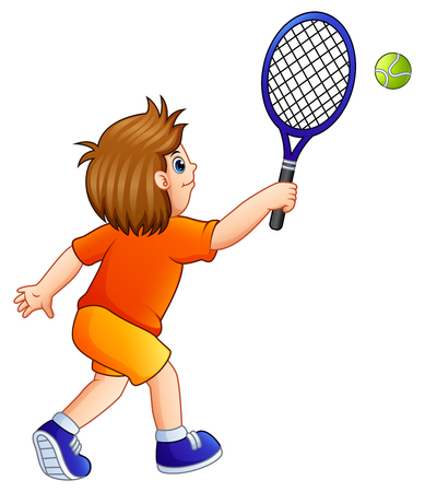 Vector illustration of Cartoon young boy playing tennis on a white background 版權商用圖片 - 93122818
