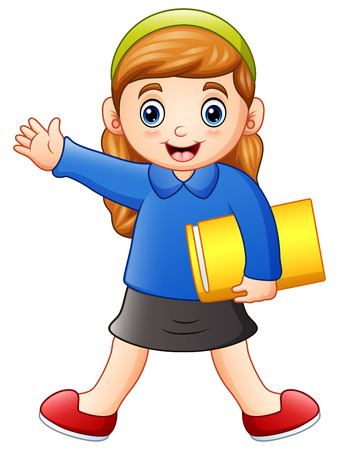 Vector illustration of Cartoon happy girl holding a book.
