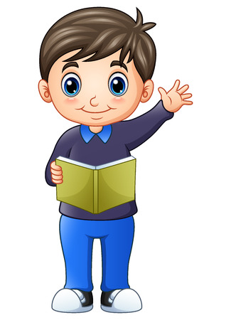 Illustration of Happy little boy standing and holding a book. Illustration