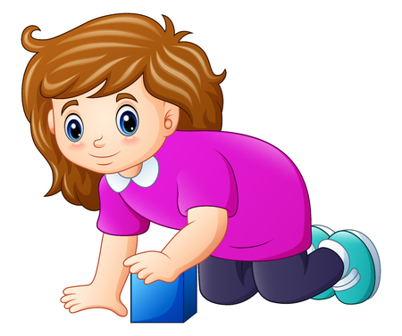 Vector illustration of Little brown haired girl playing with toy cube. Illustration