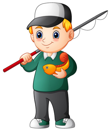 Vector illustration of Cartoon boy fishing
