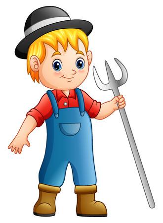 Vector illustration of Cartoon boy farmer holding rake Illustration