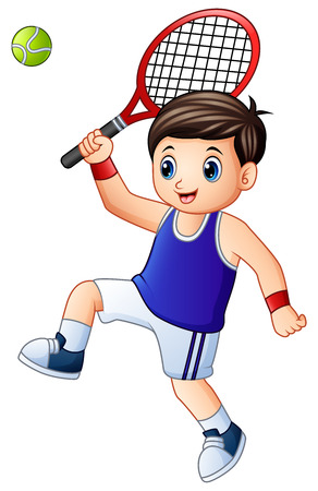 Vector illustration of Cartoon young boy playing tennis on a white background