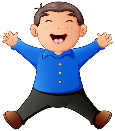 Vector illustration of Cartoon happy boy jumping Illustration
