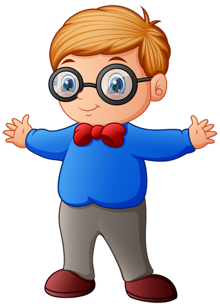Vector illustration of Cute little boy in blue shirt and eyeglasses Illustration