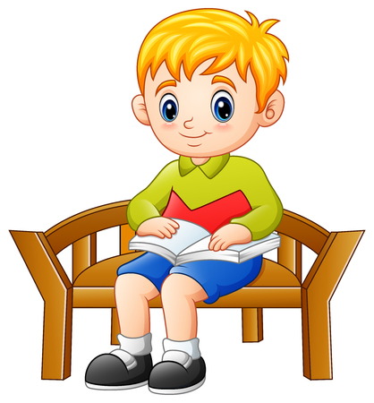 Vector illustration of Little boy sitting on a chair reading a book