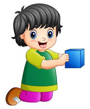 Vector illustration of Cartoon girl playing toy cube