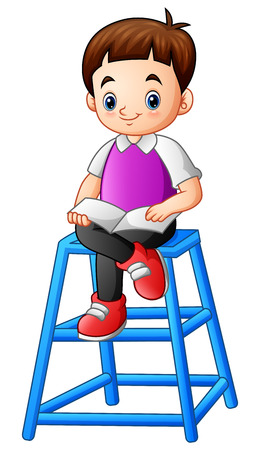 Vector illustration of Little boy reading a book on the blue stool Illustration
