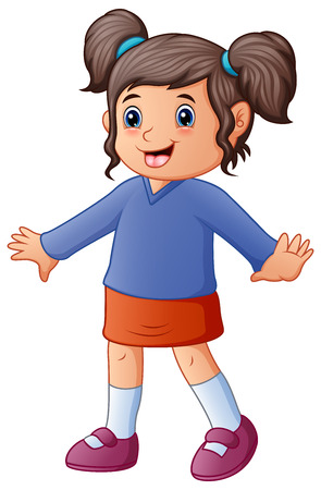 Vector illustration of Little girl in red and blue clothes