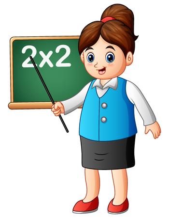 Ilustración vectorial de profesora de dibujos animados apuntando en la pizarra la lección de las matemáticas