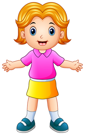 Illustration of Cartoon happy girl raises hands up.