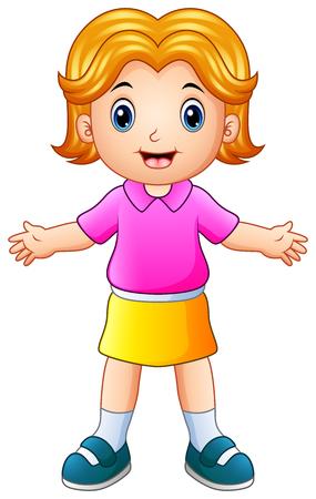 Illustration of Cartoon happy girl raises hands up.