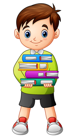 Vector illustration of Cartoon boy holding a pile of books