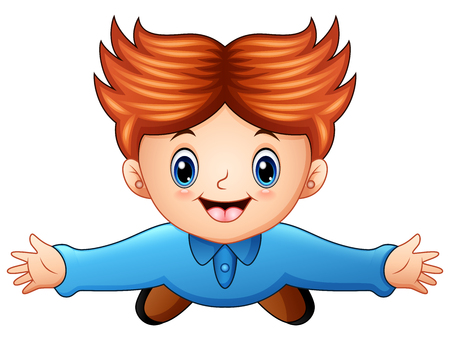 Illustration of Top view of a boy raising hands on a white background.
