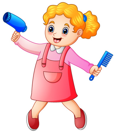 Cute blonde girl hairdresser with comb and hairdryer Stock Photo