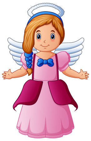 Vector illustration of Cute happy cartoon girl angel with white wings flying