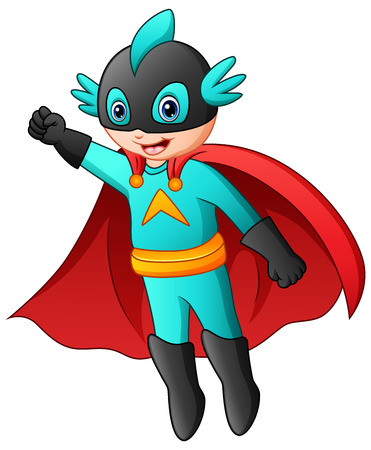 Vector illustration of Cartoon superhero boy flying.