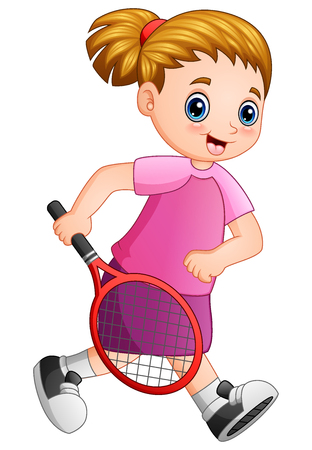 Vector illustration of Young girl playing tennis on a white background.