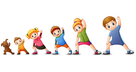 Vector illustration of Family doing exercises with dog