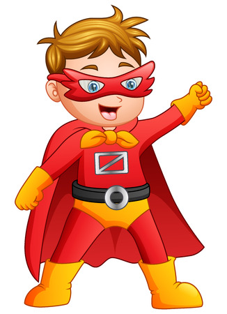 Vector illustration of Cartoon superhero boy posing
