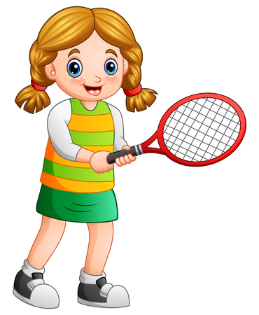 Young girl playing tennis on a white background