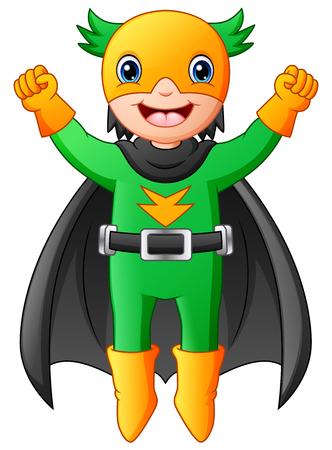 Cartoon superhero boy flying
