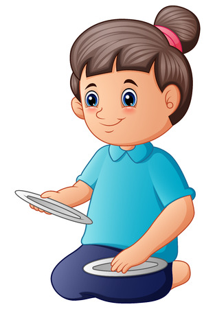 Vector illustration of Cute young woman sitting and holding an empty plate