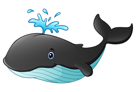 Vector illustration of Cute whale cartoon