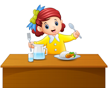 Illustration of a happy little girl holding spoon and fork eating at the table.