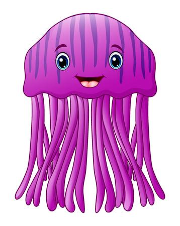 A Vector illustration of Cute happy jellyfish cartoon Stock Illustratie