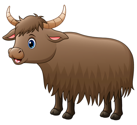 Vector illustration of cute yak cartoon.