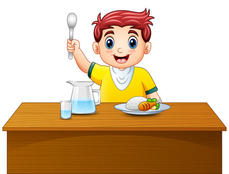 Vector illustration of Cartoon happy boy holding spoon on dining table
