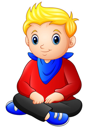 Vector illustration of Cute blonde haired boy sitting on the floor