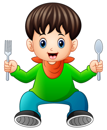 Vector illustration of Cartoon happy little boy holding a spoon and fork