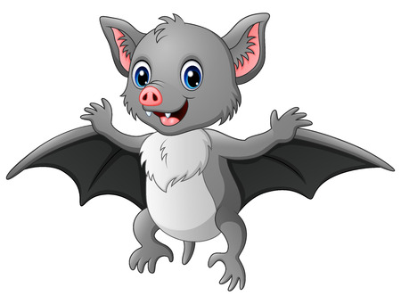 Vector illustration of Cute cartoon bat flying