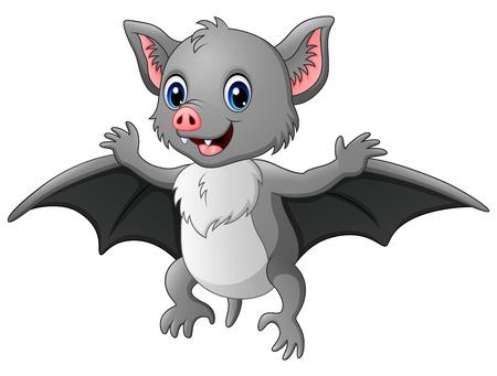 Vector illustration of Cute cartoon bat flying
